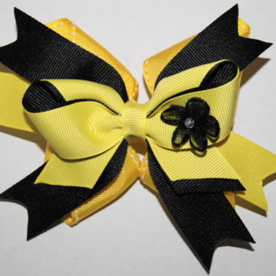 Yellow and black inside out boutique hair bow