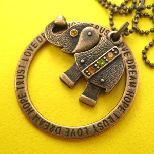 Elephant Robot Animal Hoop Round Pendant Necklace in Bronze