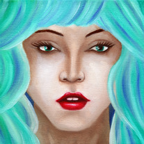 Turquoise Blue Portrait Original Oil Painting