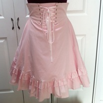 S Pink High-Waisted Corset Skirt Ribbon Steampunk Lolita Rockabilly Ruffle Skirt