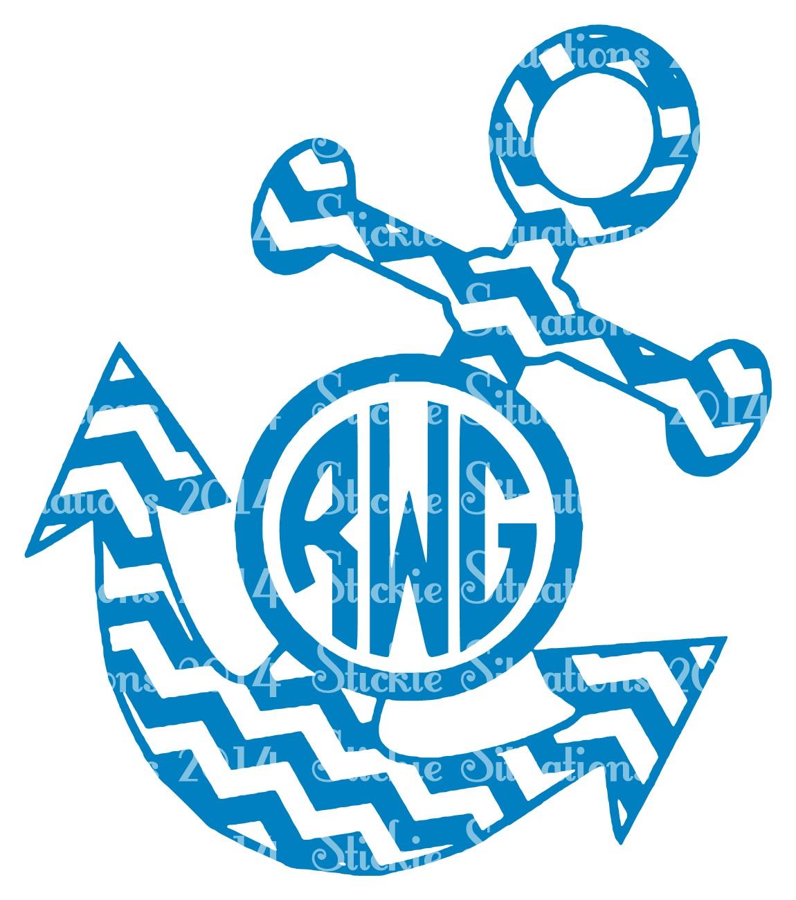 Chevron Anchor Monogram Decal
