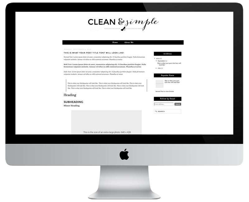Clean Blogger Templates Clean & Simple Premade Blogger Template · How Sweet Designs · Online Store Powered by Storenvy