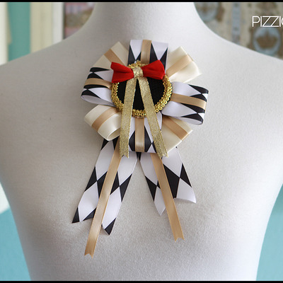Grand rosette (two-way) - harlequin black and white