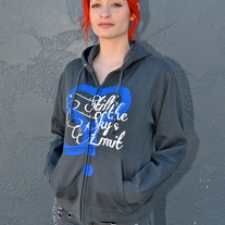 Womens S-Heart Zip Hoodie (Charcoal)