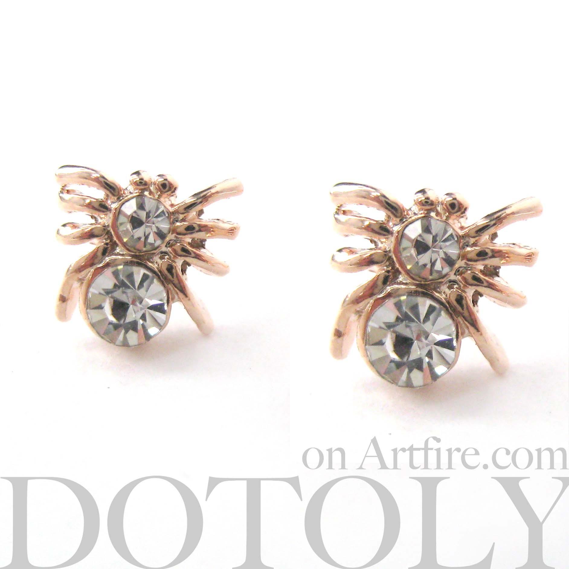 small spider tarantula insect bug animal stud earrings