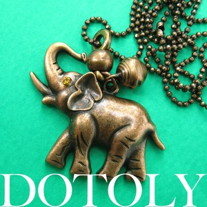 Cute Simple Elephant Animal Pendant Necklace in Bronze