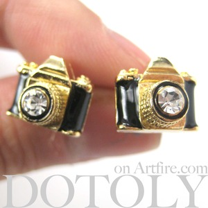 Tiny Camera Stud Earrings in Black on Gold with Rhinestone Lens