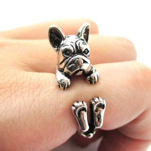 Realistic French Bulldog Shaped Animal Ring in Shiny Silver | Size 4 to 8.5