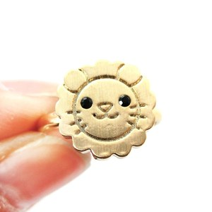 Cute Lion Face Shaped Simple Animal Jewelry Adjustable Ring in Gold
