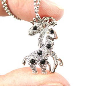 Entwined Giraffes Shaped Rhinestone Animal Pendant Necklace in Silver