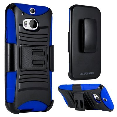 HTC One (M8) - Dual Layer, Rugged Combo Case with Kick Stand and Holster