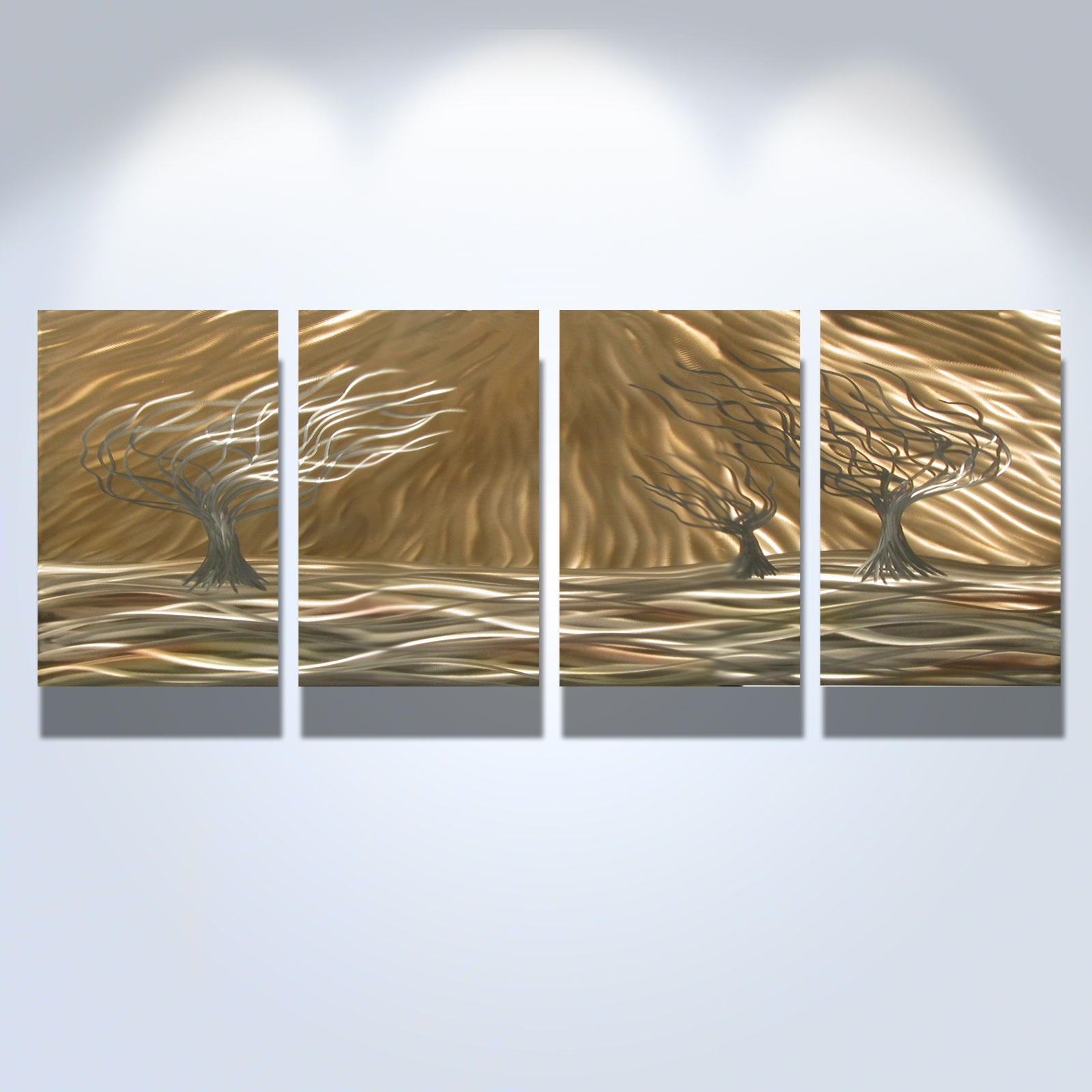 3 trees 4 panel abstract metal wall art contemporary for Contemporary decorative accessories