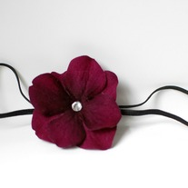 Velvet flower on elastic headband