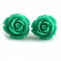 Mint Green Rose Earrings