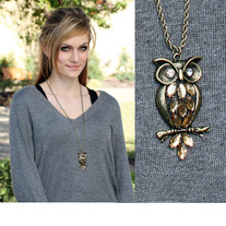 Vintage Burnished Gold Owl Pendant
