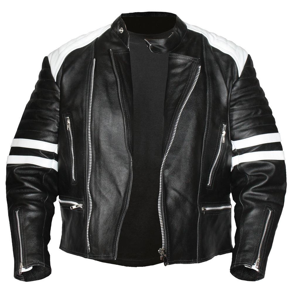 men leather jacket old school white black rangoli. Black Bedroom Furniture Sets. Home Design Ideas