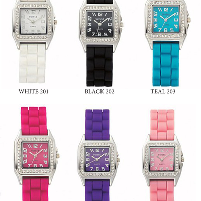 Square faced silicone watches w/cubic zirconia