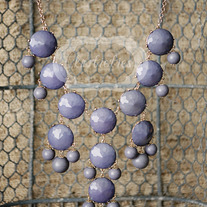 large knotiebubble necklace - charcoal w/gold