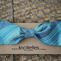big silk knotiebow headband - plaid turquoise