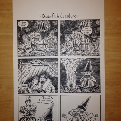 Dwarfish creature original comic art