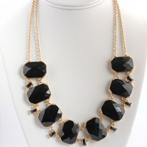 Black Linked Geo Necklace