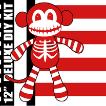 Deluxe Red and White Skeleton Sock Monkey DIY Kit