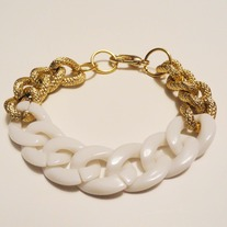 Chunky Link Chain Gold & White**FREE SHIPPING