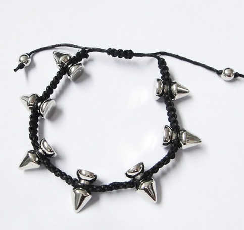 Spikes Braided bracelet - Silver