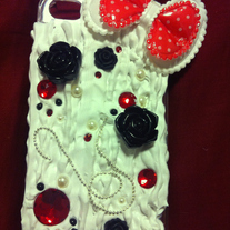 Red/Black Whipped Cream Decoden iPhone 4/4S Case