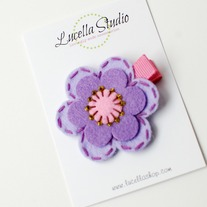 Felt flower clip, Purple/Pink