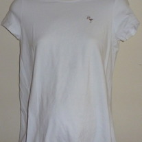 White Shirt With Pink Stork-New Additions Maternity Size Small