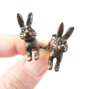 3D Fake Gauge Cute Bunny Rabbit Animal Stud Earrings in Copper