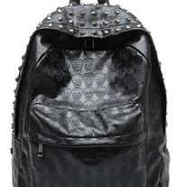Black Skull Print Studded Backpack