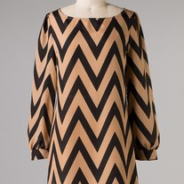 Taupe Black Chevron Stripe Zig Zag Print Long Sleeve Tunic SML