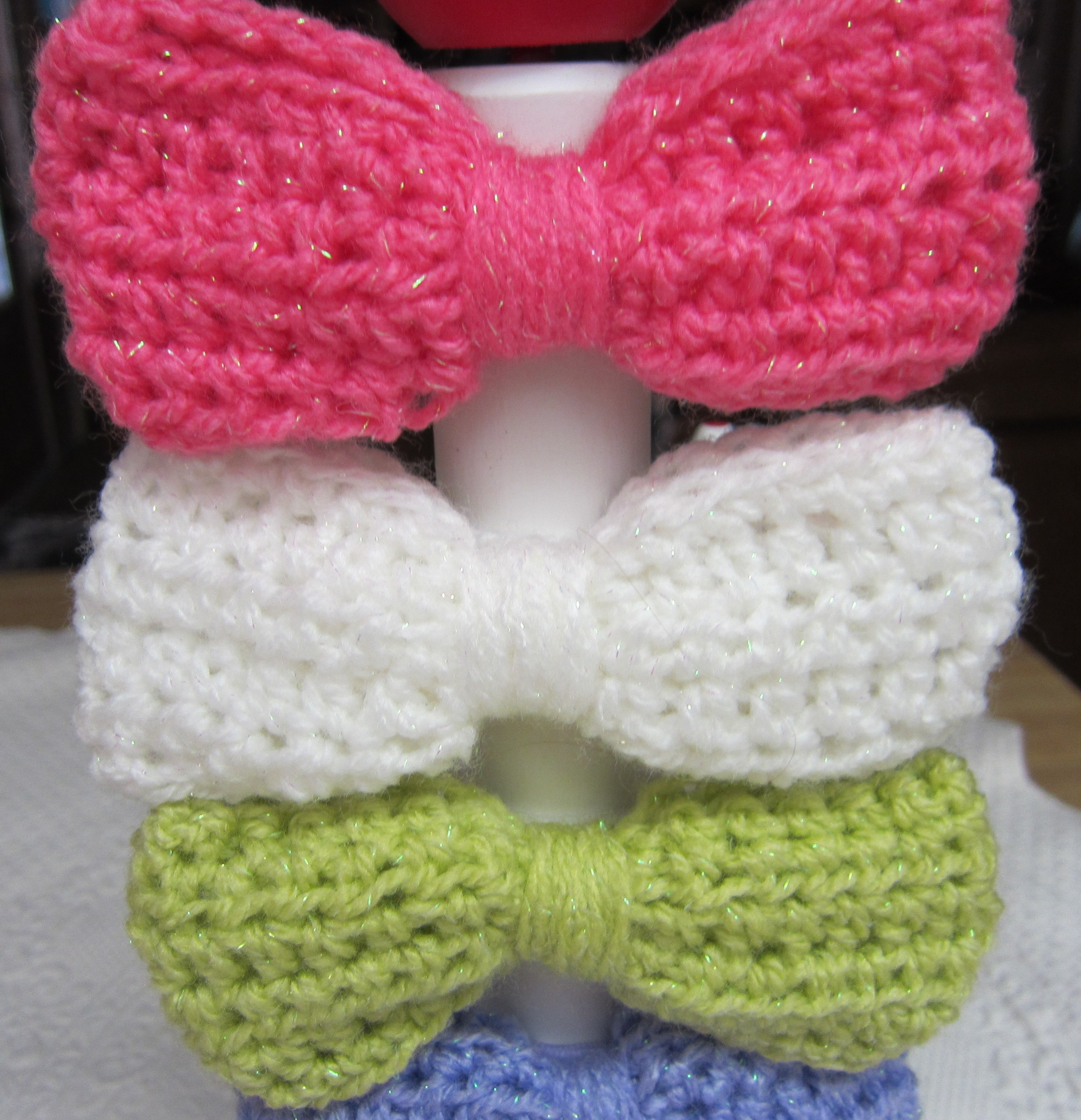 Crochet Sparkly Hair Bows in Various Colors ? KitkatCrochets ...