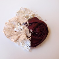 Burgundy Lace Brooch