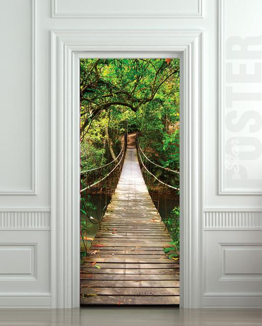 Giant Door Sticker Rope Bridge Tropic Forest Decole Film