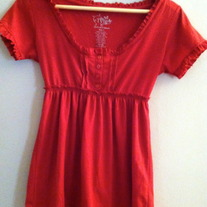 Ruffle Trim Red Baby Doll Top
