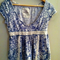 Hollister Floral Scoop Neck Baby Doll Top