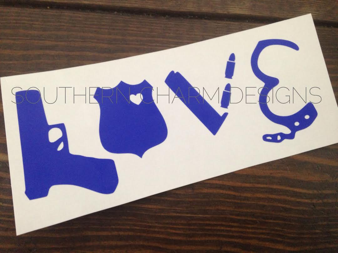Police gear leo love car decal southern charm designs for Tn tattoo laws