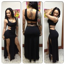 BLACK 2 SPLIT DRESS