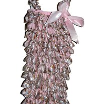 Couture Kids Baby Pink with Gold Link Chain Print Girls Ruffled Petti Romper Photo Prop