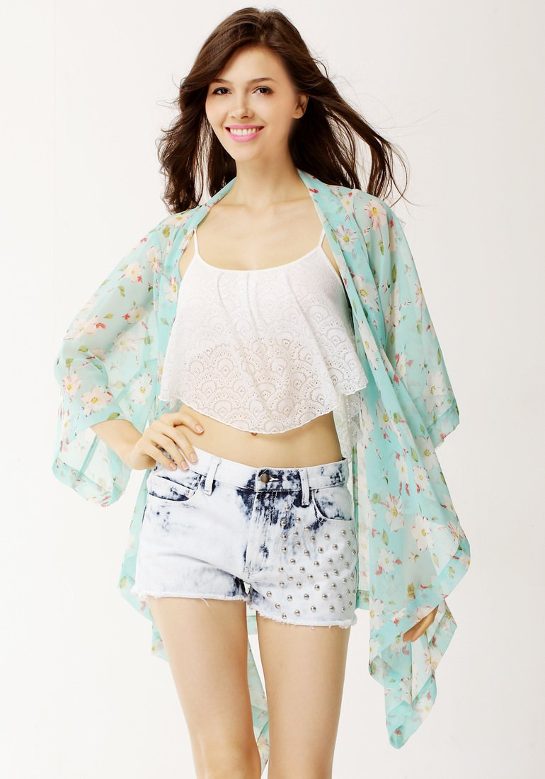 Outletpad | Floral Crop Sleeves Kimono Top | Online Store ...