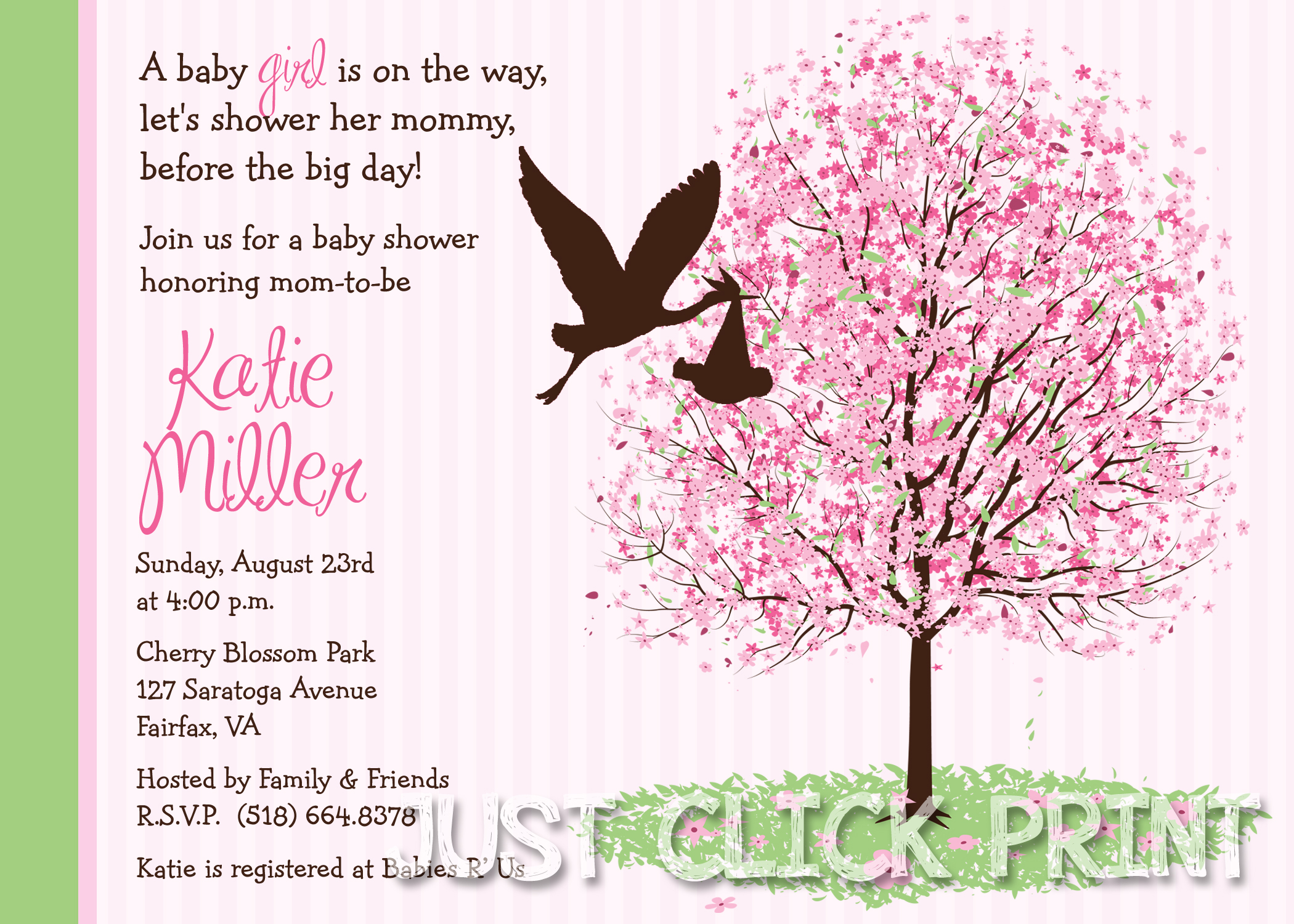Cherry Blossom Tree Baby Shower Invitation Printable Just Click