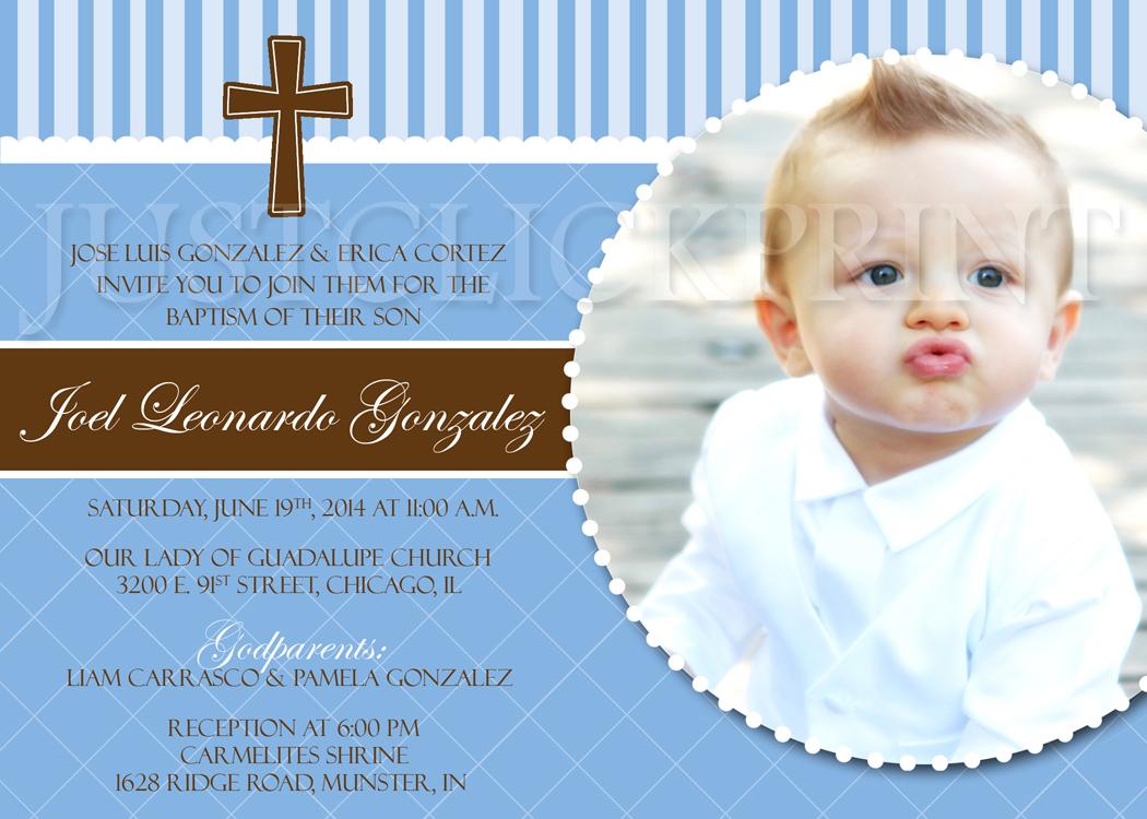 Boys Blue & Brown Baptism Dedication Christening Photo Invitation ...