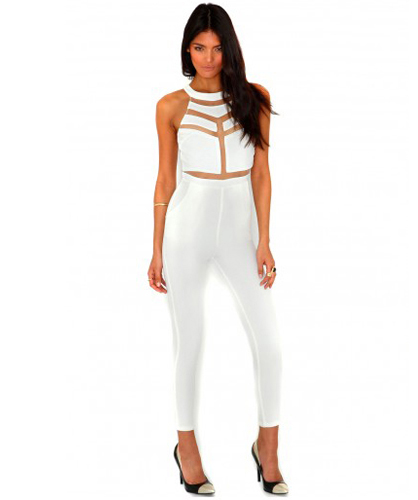 js6 Mesh Panelled Halter Fitted Jumpsuit in White · Celebrity ...