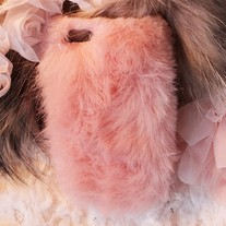 New Chic Pink Synthetic Fox Fur iPhone 4/4S Case Cover