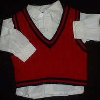 White Collar Shirt with Red Sweater Vest-In Design Boyswear Size 0-3 Months
