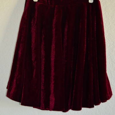 High waisted red velvet circle skirt