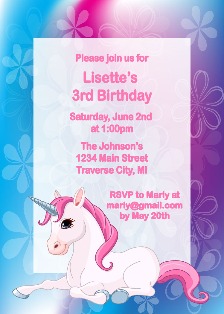 Unicorn Birthday Invitation for Girls Party · Announce It! · Online ...